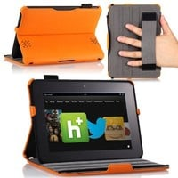 MoKo(TM) Slim-fit Folio Cover Case for Amazon Kindle Fire HD 7 Inch Tablet, ORANGE (with Automatic Wake/Sleep function, Protective Hardback, Built-in Multi-angle Stand)--Lifetime Warranty