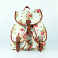 White Floral Cute Large Backpacks for School Bag Canvas Daypack Travel Bag