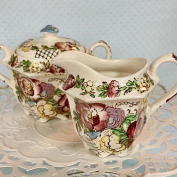 Antique Sadler Sugar and Creamer Set, Antique China, Covered Sugar Bowl and Creamer, High Tea, Tea Party, Bridal Shower Gift, Shabby Chic
