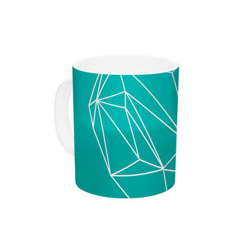 "Mareike Boehmer ""Heart Graphic Turquoise"" Teal Abstract Ceramic Coffee Mug"