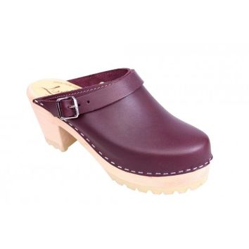 Lotta From Stockholm High Heel Classic Clog in Aubergine Leather with Tractor Sole and Moveable Strap. Retro style.