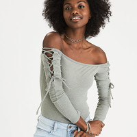 AEO Soft & Sexy Plush Ribbed Lace-Up Bodysuit, Olive