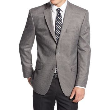 Michael Kors Mens Houndstooth Notch Lapel Two-Button Suit Jacket