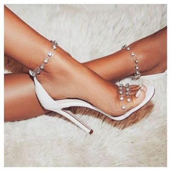 Transparent Rivet Strap Stiletto High Heels