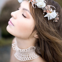 Collar necklace Luxurious handmade lace ruffle neck collar - wedding choker  - one of the kind - lace fashion