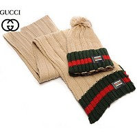 GUCCI Fashion Winter Knit Women Men Beanies Scarf &Cap Khaki