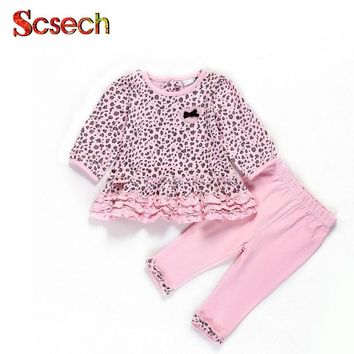 New Summer New Born Baby Girls Pink Leopard Petal Collar Clothing Baby Boy Clothes Set Long-sleeved by Girl clothes SSD04