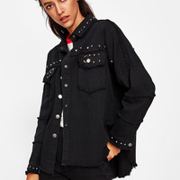 Studded Frayed Hem Denim Jacket -SheIn(Sheinside)
