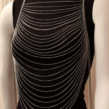 Body Chain Multi Layered Silver Armor Draping Chains