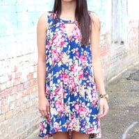 Magically Floral Tank Dress {Navy Mix}
