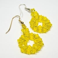 Yellow Silver Citrine Beadwoven Earrings 269