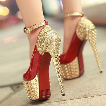 Sexy sequins rivets high heels