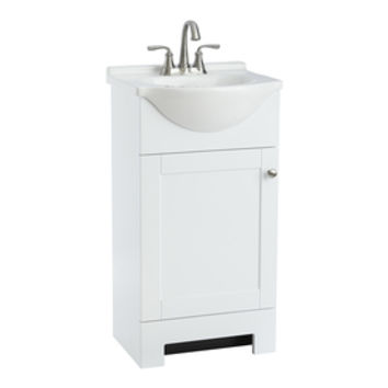 Shop Style Selections Euro White Integral Single Sink Bathroom Vanity with Cultured Marble Top (Common: 19-in x 19-in; Actual: 19-in x 16.5-in) at Lowe's