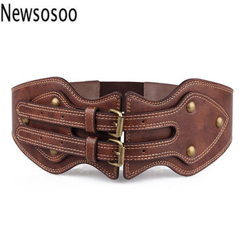 winter women lady belts Fashion crazy horse leather needle buckle elastic wide luxury brand belt for Women Genuine Leather belts