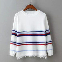 Stripe Fringed Knitted Sweater