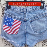USA Flag Pocket High Waisted Shorts Destroyed Stars Stripes Patriotic 4th of July Waist 26 IN STOCK Ready to Ship // suznews etsy store //