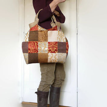 Tote bag, hippie bag, brown tones, upholstery fabric tote bag, vintage look and feel , seventies shoulder bag, orange/brown, dark purple