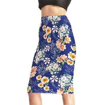 Family Friends party Board game New Arrival Flowers Women Sexy High Waist Midi Skirts Tennis Bowling Skirts Slim Hip Elastic S-4XL Blue Female Party Apparel AT_41_3