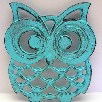 Owl Trivet Hot Plate Bright Turquoise Shabby Chic Distressed Kitchen Rustic Woodsy Decor Aqua Blue Ornate Cast Iron