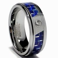 8MM Men's Tungsten Carbide Ring W/ Blue Carbon Fiber Inaly and CZ sizes 7 to 13