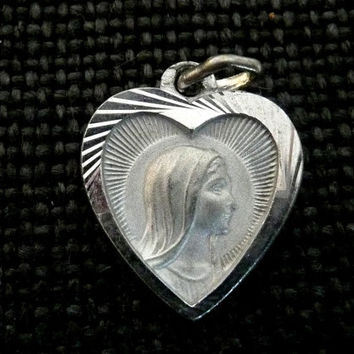 Vintage French Silver Mary Medal