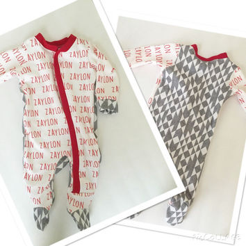 Custom personalized footed Onesuit for baby boy or girl. Perfect gift or take home outfit
