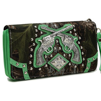 Western Cowgirl Camouflage Gun Accented Double Zipper Stud Wallet In Lime