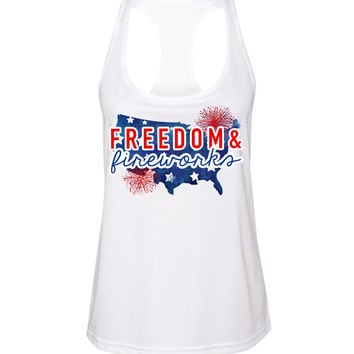 Ladies 'Fireworks & Freedom' Racerbank Tank