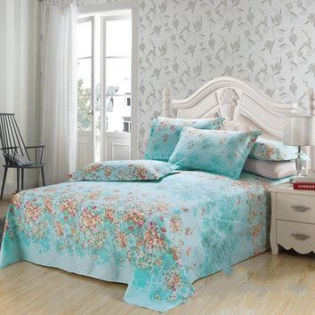 Adorable Fresh Pastoral Style Floral Blue Luxury 4-Piece Duvet Cover Sets
