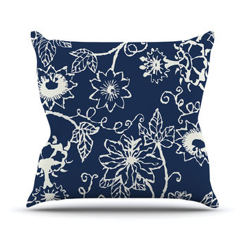 """Laura Nicholson """"Passion Flower"""" Navy Floral Outdoor Throw Pillow"""