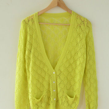 Rhombic Flower Long Sleeve Knit Cardigan