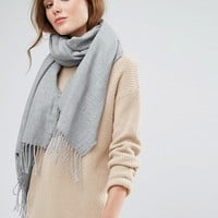 Stitch & Pieces Woven Long Scarf with Tassels at asos.com