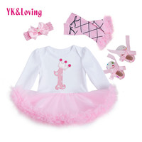 2016 baby girl clothes Dress of  Girl bodysuit Christening Gowns  Girls Princess Party Childen Clothing Set Funny Birthday