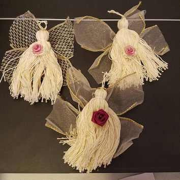 3 vintage string yarn angel christmas tree ornaments ribbon wings