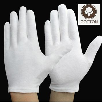 Work Gloves 12 Pairs Pure Cotton 100% Gloves White Thicken Labor Gloves For Etiquette/Performance/Reception