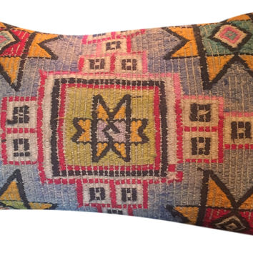 Vintage Turkish Kilim Rug Pillow Cover Lumbar 20""