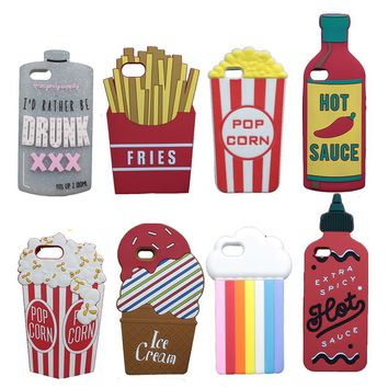 3D Cute Spray Paint Soft Case For iPhone X 5 5S SE 6 6S Plus 7 7S Plus 8 Plus Case Dolls Popcorn Boys Tears Bottle Cover