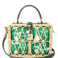 Banana leaf-print leather and wicker box bag | Dolce & Gabbana | MATCHESFASHION.COM US