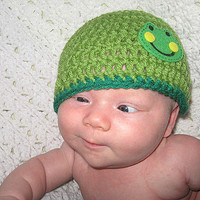 Green Frog or Blue Monkey Hat NB, 0-3, 3-6  6-12 Months  Baby Shower Gift, Infant, Perfect Photo Prop