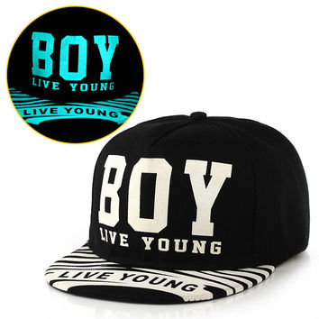 New Fashion Casual Cap Noctilucence Lighting Print Hip Hop Hat = 5987985089