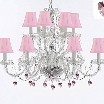 Murano Venetian Style All Empress Crystal (Tm) Chandelier! With Pink Crystals And Shades! - A46-B21/Sc/Pinkshades/385/6+6
