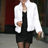 Winter Women faux fur coat poncho fourrure black white warm basic coats fur Jacket elegant Luxury Plus Size Mink fox femme 3xl