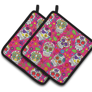 Day of the Dead Pink Pair of Pot Holders BB5115PTHD