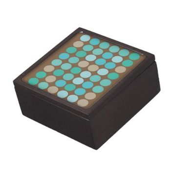 Aqua Blue Teal & Brown Dots Modern Pattern Premium Jewelry Box- Gift Box, jewelry boxes, Custom- PERSONALIZE & add name, text or photo!