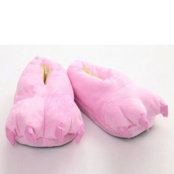 Cute Three Colors Slippers With Paw Shape and Suede Design Great Gifts