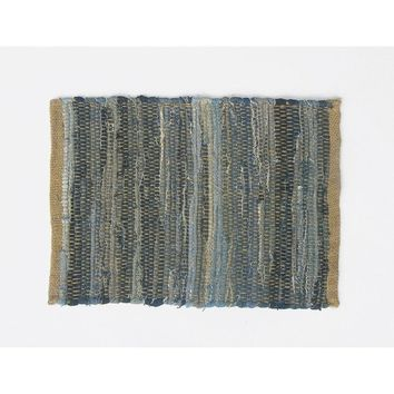 Roughly Design Jute And Cotton Denim Placemats, Set of 4, Blue