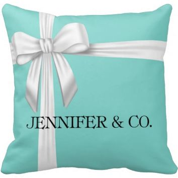 Personalized Tiffany Blue Box Inspired Throw Pillow
