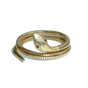 Nine Carat Gold Snake Bangle By Cropp And Farr 1982