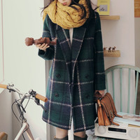 New 2016 casacos femininos women coat Women's Slim Double-breasted Woolen Coat Autumn Winter wool coat slim winter coat plaid