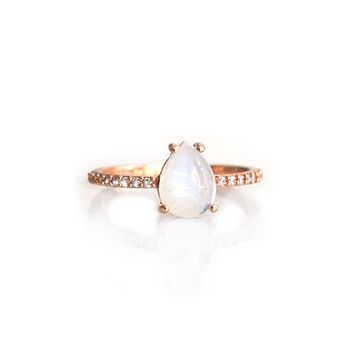 Rose Gold Rainbow Moonstone and Topaz Angels Tear Drop ring
